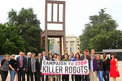 Campaigners outside the UN in Geneva (via Campaign to Stop Killer Robots)
