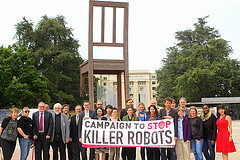 Campaigners outside the UN in Geneva (via Campaign to Stop Killer Robots)